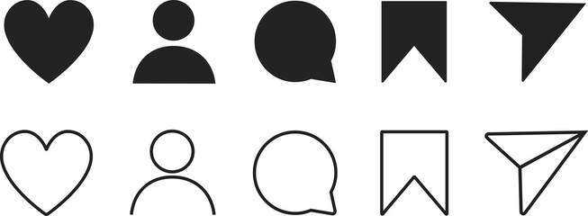 Fototapeta Social media icon user. Instagram. Stories user button, symbol, like, comment, share and save button sign logo. Icon Set of Social Media. Vector illustration.