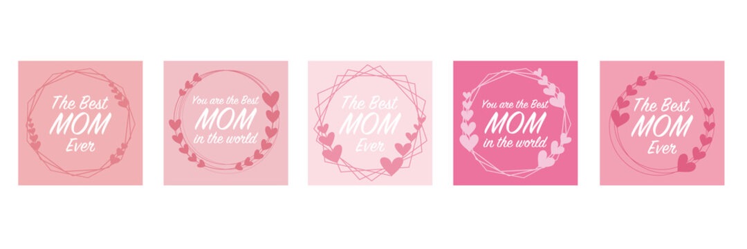Collection of Mother's day wreath with texts. Heart decoration frame for Mother's day design. Vector illustration. 母の日のハートデコレーションフレームコレクション
