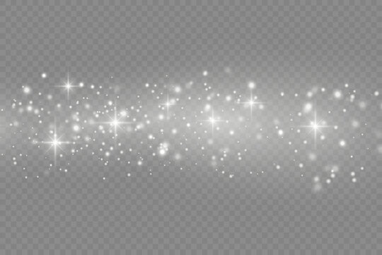 White dust particles, sparkle, shine lights, star.