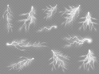 Fototapeta Set of zippers, thunderstorm and effect lightning.