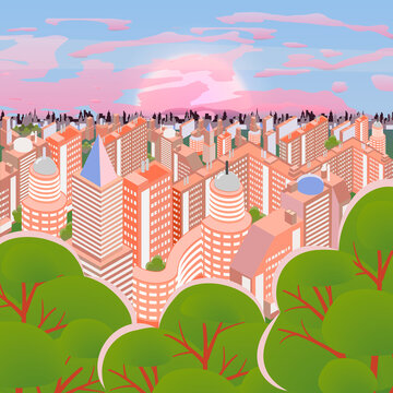 City landscape vector illustration. Buildings and green spaces in the morning. Top-down view of high-rise houses during sunrise.Ideal for background,wallpaper or to integrate with your text or message