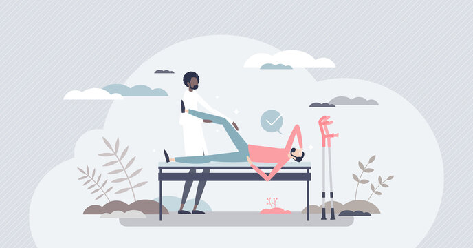 Orthopedic doctor as bone trauma physical rehabilitation tiny person concept. Professional occupation with patients in hospital vector illustration. Knee joint injury and ankle diagnosis treatment.