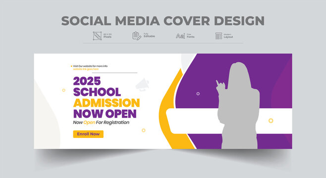 School admission social media cover photo and web banner template design. cover design layout.