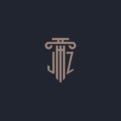 Fototapeta JZ initial logo monogram with pillar style design for law firm and justice company