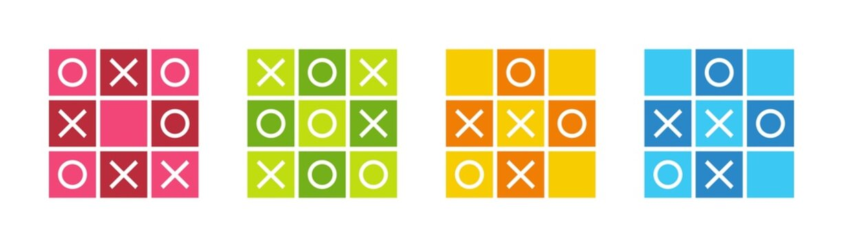 Tic tac toe icons set, noughts and crosses game, xs and os icon collection - Vector