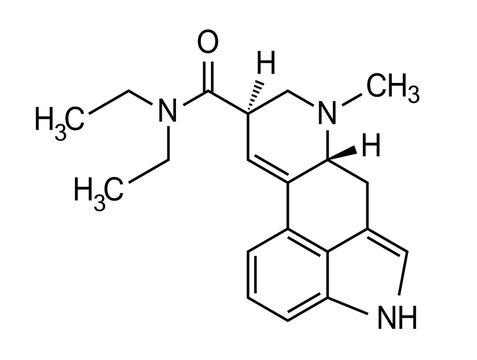 Lsd molecule, chemical formula vector illustration