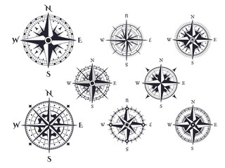 Obraz Retro compass. Wind rose nautical direction icons with cardinal points, vintage map compasses elements vector isolated set. Traveling around world, different isolated expedition equipment - fototapety do salonu