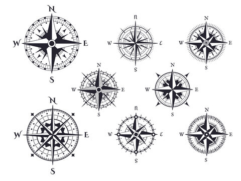 Retro compass. Wind rose nautical direction icons with cardinal points, vintage map compasses elements vector isolated set. Traveling around world, different isolated expedition equipment