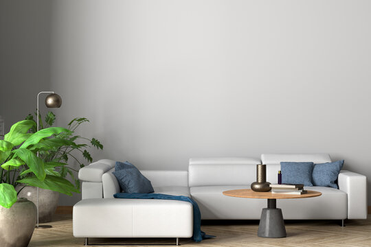 Blank white wall of modern living room mock up.
