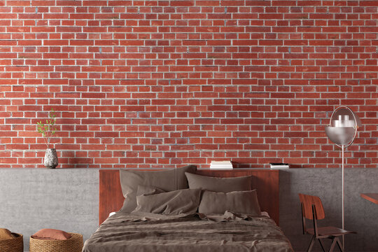 Blank red brick wall of loft bedroom mock up.