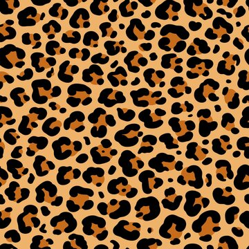 Vector abstract seamless pattern of leopard or ounce predatory print. Modern animal fur fashion background. Realistic Leopard colorful print. Exotic wild animal skin pattern for textile, decor.