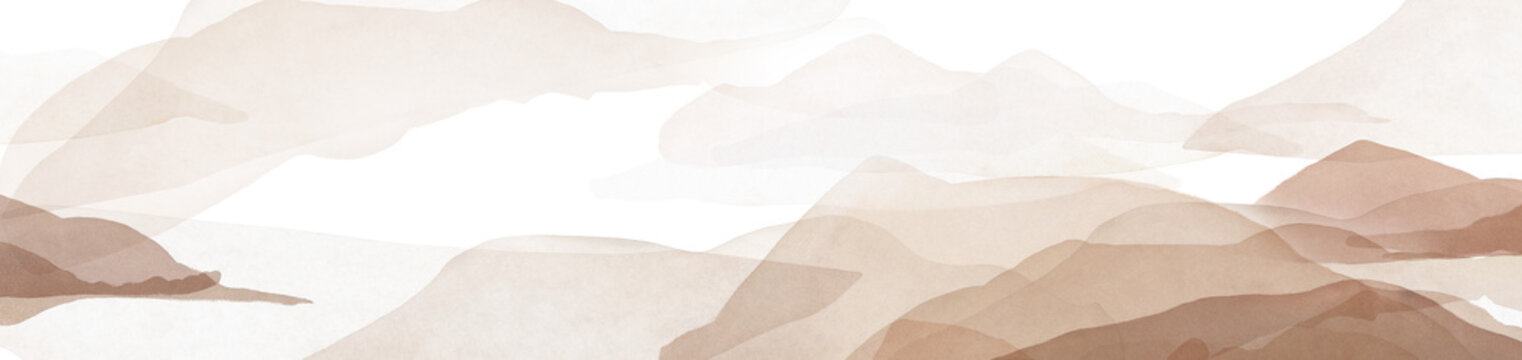 watercolor landscape, background. Abstract modern print with mountain. Vintage, neutral color
