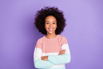 Fototapeta Photo portrait of pretty confident girl with crossed folded hands laughing isolated violet color background