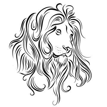 Monochrome Illustration of Lion Head. Logo or Tattoo Template
