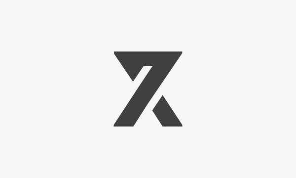 X or X7 or 7X logo concept isolated on white background.