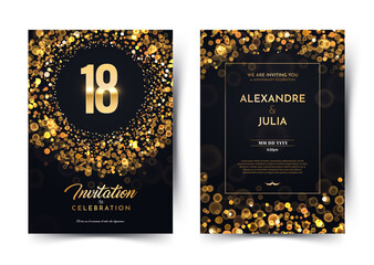 18th years birthday vector black paper luxury invitation double card. Eighteen years wedding anniversary celebration brochure. Template of invitational for print on dark background with bokeh lights Wall mural