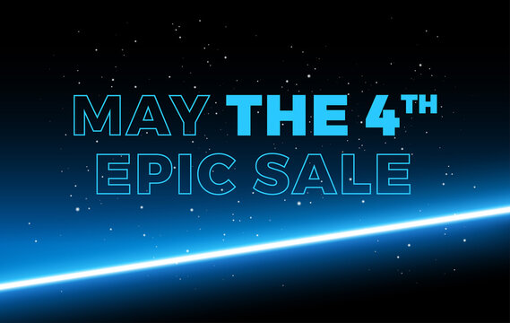 May the 4th Sale space background vector illustration