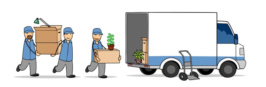 Möbelpacker und Umzugshelfer beim Umzug tragen Kartons