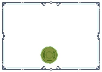 Illustration of green leaf pattern in circle with copy space in blue frame on white background