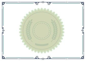 Illustration of green leaf pattern in circle with blue frame on white background