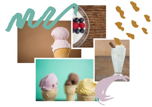 Composition of ice cream and dessert photographs with green and brown pattern on white background