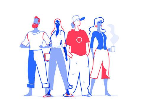 Team di giovani talenti. Gruppo di personaggi colorati maschili e femminili isolati sullo sfondo bianco