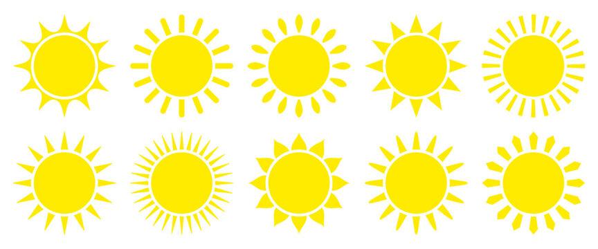 Set Zehn Grafische Icons Sonne Gelb