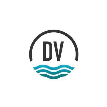 Initial Letter dv Creative Circle Beach and Sun Logo Template. Creative Logo Template