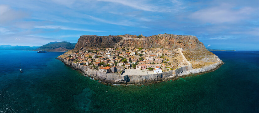 Aerial view of medieval town of Monemvasia located on small island in Lakonia of Peloponnese, Greece