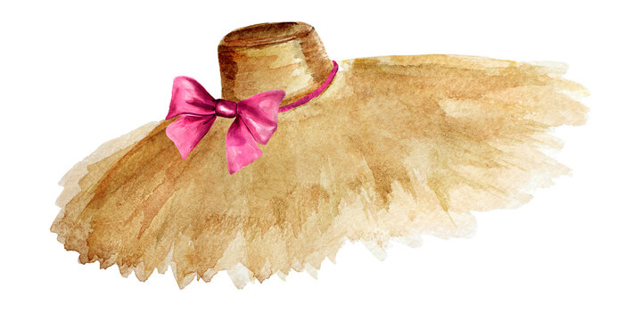 Straw hat with pink bow watercolor element. Template for decorating designs and illustrations.
