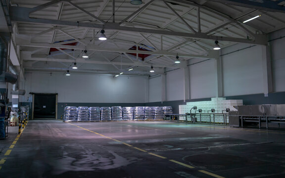 Looking around on a big food factory warehouse with a multi-tiered system.