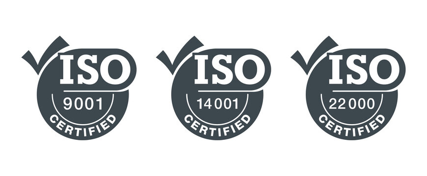 ISO certified stamps with big check mark