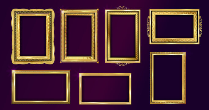 Empty painting or picture frame with golden engraved and carved wooden borders. Set of decorative retro ornamental detailed picture frames. Old classic vector baroque golden frames collection.