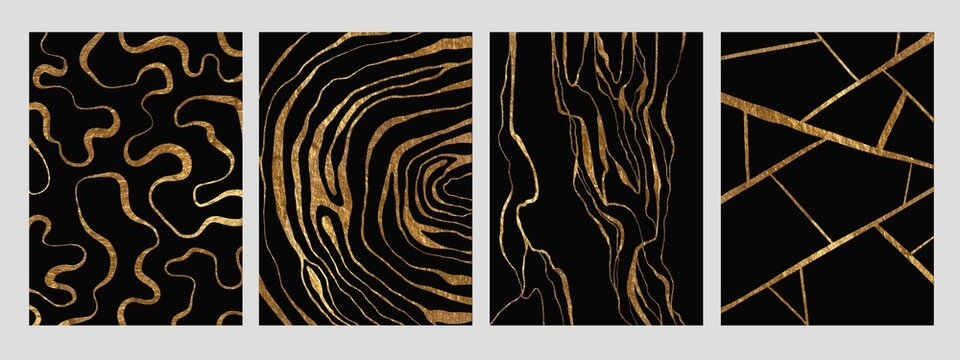 Golden glitter and black abstract marble stone, wood design, natural texture, waves, curls, geodes. Luxury ink, liquid stains, abstract patterns for covers, branding template.