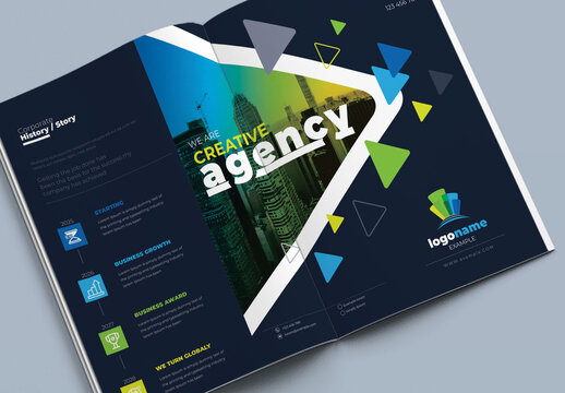 Corporate Business Squareand Tall Tri-Fold Brochure
