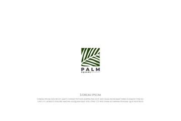 Square Coconut Palm Date Leaf Leaves Nature Garden Logo Design Vector - fototapety na wymiar