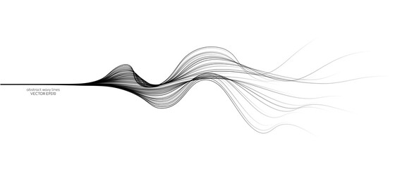 Fototapeta Vector abstract wavy lines flowing dynamic isolated on white background for concept of AI technology, digital, communication, 5G, science, music obraz