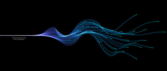 Obraz Vector abstract light lines wavy flowing dynamic in blue green colors isolated on black background for concept of AI technology, digital, communication, 5G, science, music - fototapety do salonu