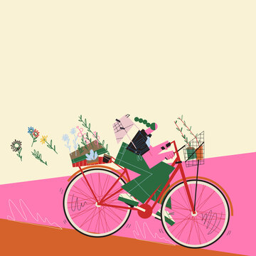 Young adult woman riding his bike transporting plants and flowerpots through the street moving fast. Green and environmentalism concept.