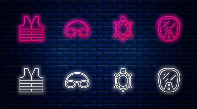 Set line Glasses and cap, Turtle, Life jacket and Diving mask. Glowing neon icon on brick wall. Vector
