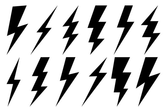 Lightning bolt icons set.Vector simple icons in flat style. Set lightning bolt vector on white background.Vector illustration