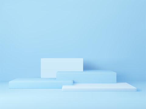 3D rendered podium for your product showcase. Blue platforms composition. Vector 3d illustration.