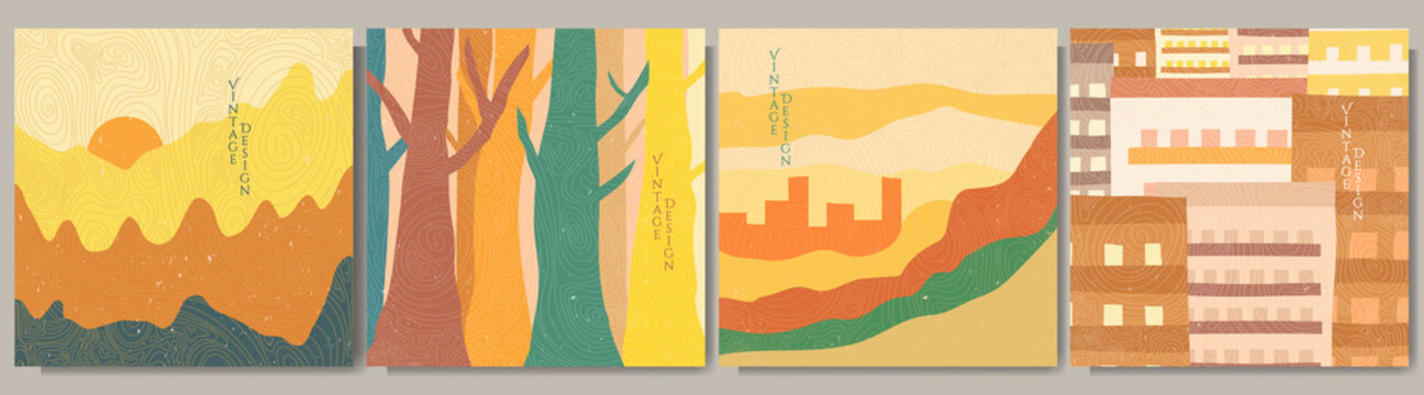 Vector illustration landscape. Japanese wave pattern. Asian style. Colorful background collection. Woodland, cityscape, mountains and hills. Design for social media template, banner. Vintage concept