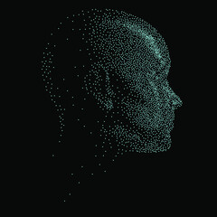 Fototapeta Silhouette of a 3d human head made of dots and particles. Concept of Artificial intelligence and Neural Network. obraz