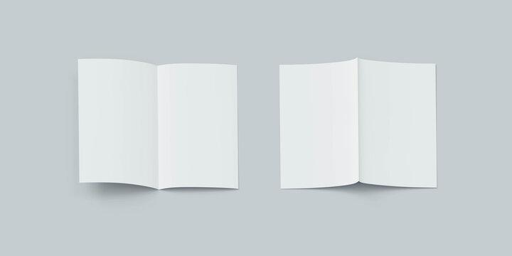 blank empty white card flyer mock up template 3d render illustration
