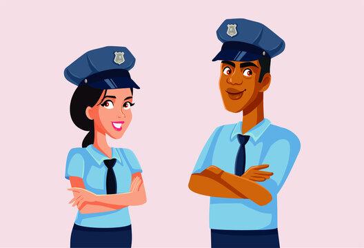 Policeman and Policewoman Standing Together Vector Illustration