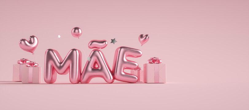 Dia das  mães 3d com caixas de presentes com escrita rosa