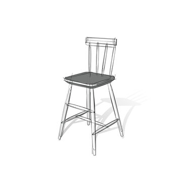 Technical drawing of a bar stool in an architectural style. Schematic vector illustration on white background