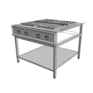 Technical drawing of a restaurant cooker in an architectural style. Schematic vector illustration of commercial kitchen roaster on white background
