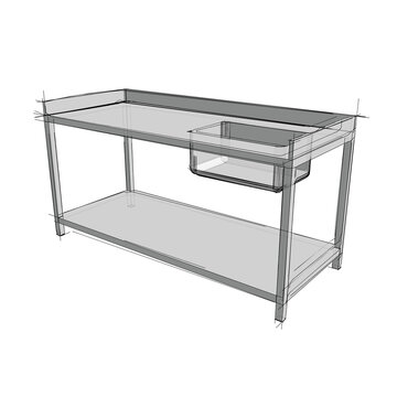 Technical drawing of a restaurant sink in an architectural style. Schematic vector illustration of commercial kitchen sink on white background